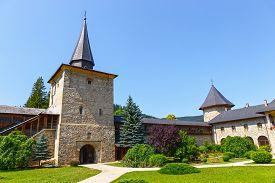 stock photo of suceava  - The Sucevita Monastery is a Romanian Orthodox monastery situated in the commune of Sucevita Suceava County Moldavia Romania - JPG