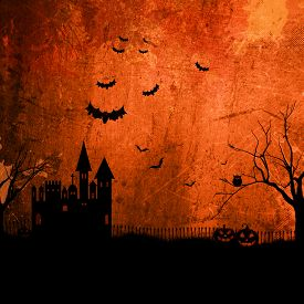 picture of scary haunted  - Detailed orange grunge Halloween background with haunted house - JPG