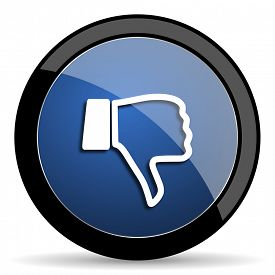 pic of dislike  - dislike blue circle glossy web icon on white background - JPG