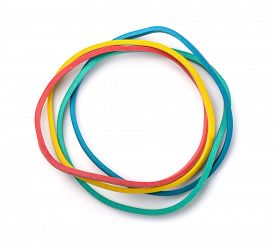 image of rubber band  - Top view of colorful rubber bands isolated on white - JPG