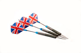 foto of fletching  - a set of english darts with british flag fletches isolated over a white background - JPG