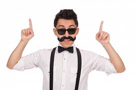 picture of moustache  - Young man with moustache isolated on white - JPG