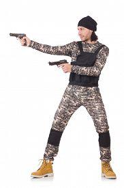 picture of handgun  - Caucasian soldier with handgun isolated on white - JPG