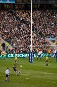 TWICKENHAM LONDON - NOVEMBER 13: Toby Flood Kicking for goal at  England vs Australia Investec Rugby Match on November 13, 2010 in Twickenham, England.