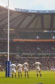 TWICKENHAM LONDON - NOVEMBER 20: English players watch Samoan penalty kick at England vs Samoa, Engl