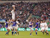 TWICKENHAM LONDON - NOVEMBER 20: English Player recieves ball in Lineout at England vs Samoa, Englan