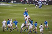 TWICKENHAM LONDON - FEB 12: Italian lineout catch at England vs Italy, England playing in white Win