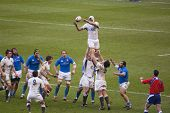 TWICKENHAM LONDON - FEB 12: English Lineout catch at England vs Italy, England playing in white Win