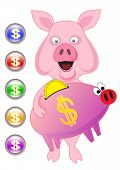 Vector drawing pigs with the money and computer icons
