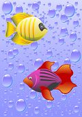 vector drawing tropical fish against a backdrop of bubbles.