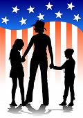 Vector image of mothers and daughters against the backdrop of the American flag