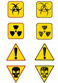graphic sign warning of radiation. Prohibitory sign