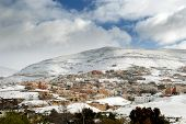 The Town Of Wadi Musa In The Snow, Jordan poster