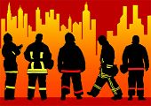 Vector drawing of fire brigade in big city