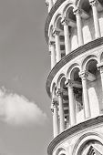 Black and white image of the leaning tower of Pisa, a symbol of Italy poster