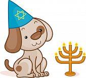 Illustration of a Dog Celebrating Passover