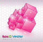 Fondo con cubos de cristal transparente, vector.