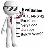 foto of performance evaluation  - Cartoon teacher or human resources manager check OUTSTANDING evaluation form report card - JPG