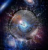 Spiral of time enclosed in crystal sphere