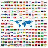 Flags of the world sorted alphabetically with official colors and details