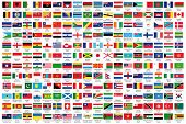 216 Official flags of the world in alphabetical order, with official Country and Capital name, verif