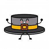 Ribbon Men Hat Kawaii Cartoon poster