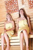 Beautiful Women In A Sauna. poster
