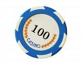 Blue 100 Dollars Casino Chip