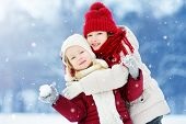 Two Adorable Little Girls Having Fun Together In Beautiful Winter Park. Beautiful Sisters Playing In poster