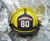 Firefighter Helmet On Crash Jacket