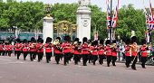 LONDON, UNITED KINGDOM - MAY 6: Coldstream Guards on May 6, 2011 in front of Buckingham Palace in Lo