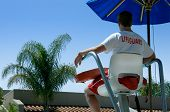 Lifeguard Overlooking Swimming Pool