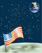 illustration with American flag on moon surface