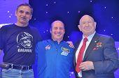 Cosmonauts Mihail Kornienko, Garrett Reisman and Alexei Leonov
