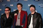 LOS ANGELES - MAY 25:  Bono, Reeve Carney, The Edge. in the 2011 American Idol FInale Press Room at
