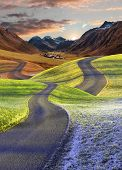 Intertwined Roads, Four Seasons Landscape poster