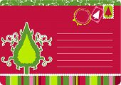 Christmas postcard with swirls, scrolls and Christmas tree. Stamps, seals and copy space in vector f