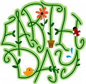 picture of earth  - Illustration of Vines Forming the Word Earth Day - JPG