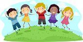 Illustratie van kinderen springen met vrolijkheid