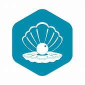 Pearl In A Sea Shell Icon. Simple Illustration Of Pearl In A Sea Shell Vector Icon For Web poster