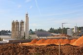 A Group Of Processing Silos Of A Concrete Factory