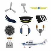 Set Of Aviation Icons. Small Aviation Symbols And Elements poster