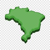 Green Map Of Brazil Icon. Cartoon Illustration Of Map Of Brazil Vector Icon For Web poster