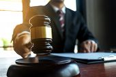 Lawyer Working With Contract Papers On The Table In Office. Consultant Lawyer, Attorney, Court Judge poster