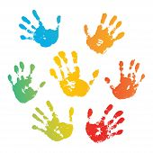 Hand Rainbow Print Isolated On White Background. Color Child Handprint. Creative Paint Hands Prints. poster