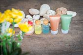 Aromatherapy Product Spa Of Therapy Massage With Plumeria Or Frangipani Flowers, Stones, Aroma Candl poster