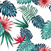 Realistic Exotic Illustration Tropical Blue Green Leaves And Red Flowers Bird Of Paradise Seamless V poster