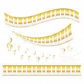 Music Icons Of Musical Staff Or Music Stave Notes And Clef. Set Of Musical Notes On Staff For Jazz C poster
