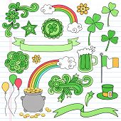 St Patrick's Day Icon Set Notebook Doodles Vector Illustration Design Elements on Lined Sketchbook Paper Background