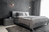 Master Bedroom For A Lonely Stylish Man, A Bachelor. Modern Room With Trendy Gray Interiors, Large K poster